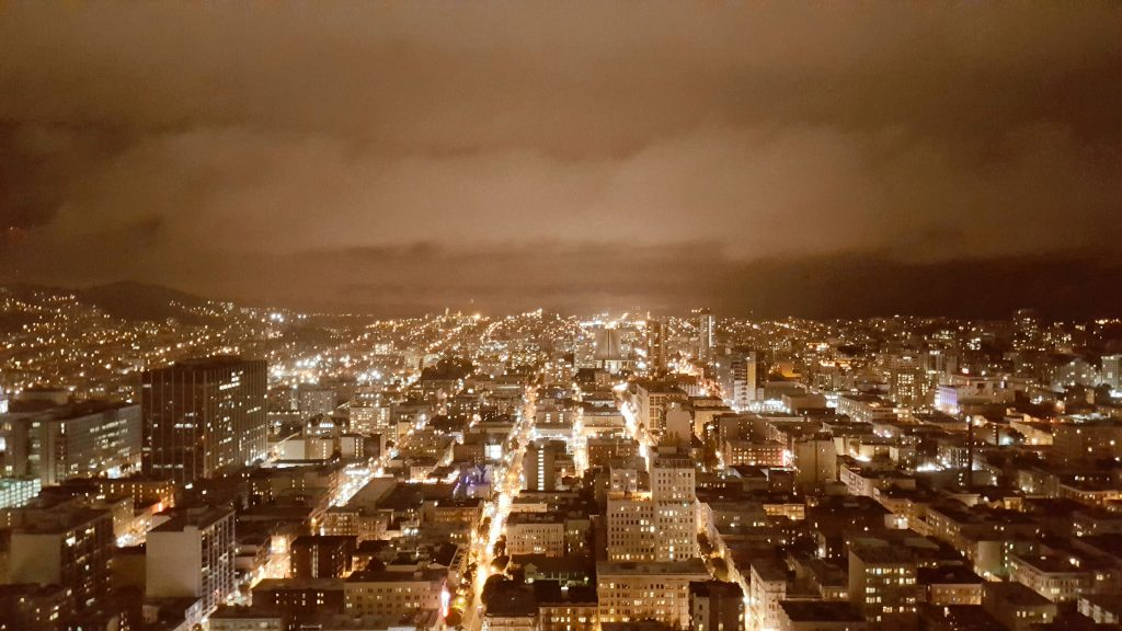 Nightfall City View at Cityscape Lounge  at Hilton Union Square San Francisco, California